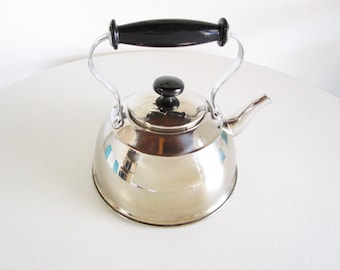 Vintage Stainless Steel Teapot With Top Handle