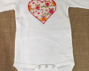 Owls Long Sleeve Heart Onesie *SIZE LARGE*