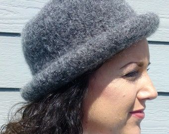 Bowler -- Charcoal Grey Rolled Brim Felted Hat