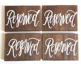 Wedding Reserved Sign, Rustic Wooden Wedding Sign, Reserved Seating, Reception Decor | 4x6 Sign