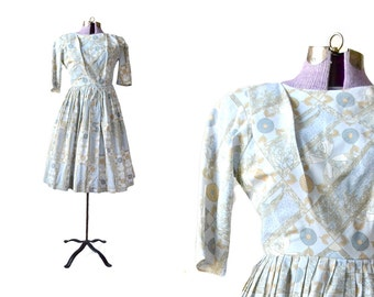 1950s Dress, 50s Dress, Blue 50s Dress, Blue 1950s Dress, womens 50s dress, vintage 1950s dress, vintage 50s dress, womens 50s dress, print