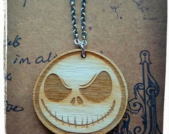 Wooden Skull Necklace