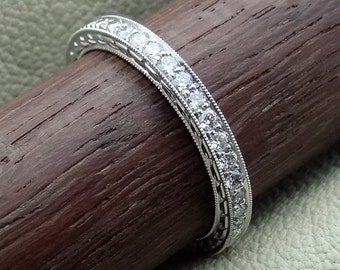 Thin Art Deco Vintage / Antique Style Diamond Wedding Band with Engraving and Milgrain 2mm wide 18k White Gold