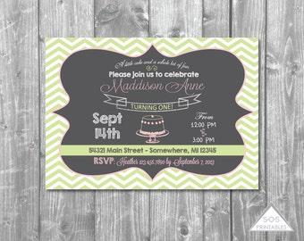 Mint and Pink Chalkboard Birthday Invitation, Printable Invitation, Mint and Pink Party, Chalkboard Invitation, Girl Birthday Party, Invite