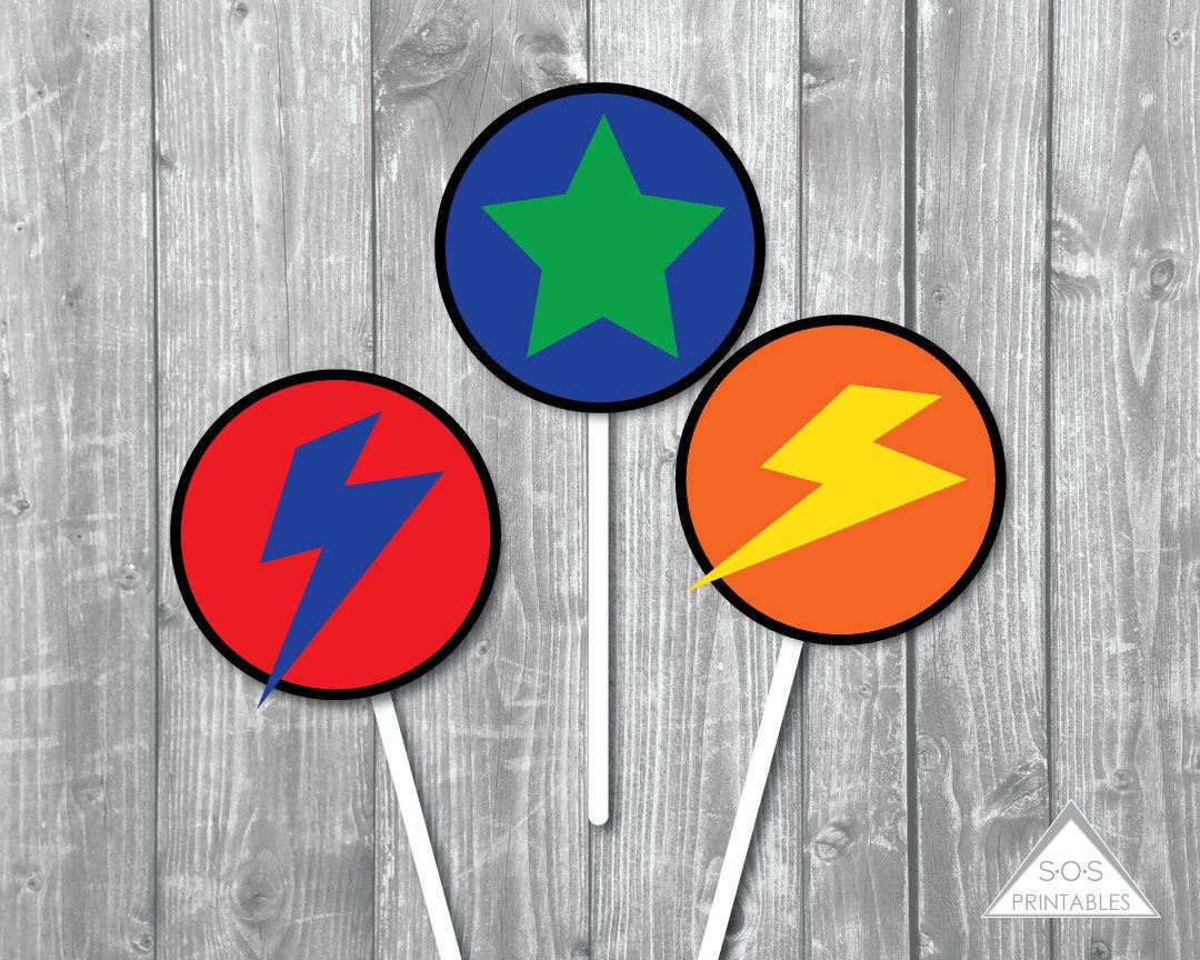Super Hero Party 2 Inch Printable Cupcake Toppers - Gift