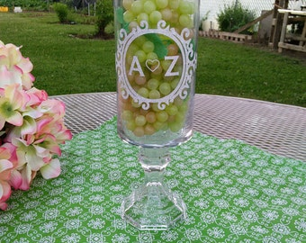 3 wedding personalized centerpiece vase /crystal vase ,initials favors 11 inches