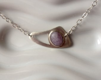 Sterling Silver and Lavender Agate Necklace