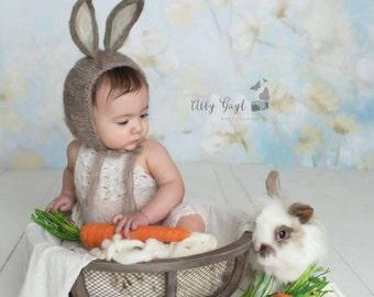 Sitter Bunny bonnet, Felted Bunny Bonnet, Easter Photoprop, Newborn Easter Prop, Newborn Animal Bonnet, Photoprop Bunny Bonnet