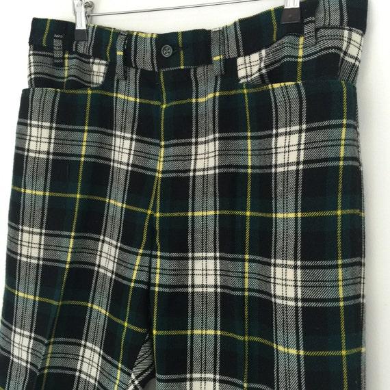 "Tartan trousers woven wool mens trousers 34"" waist 1970s vintage menswear straight cut woollen plaid pants Campbell tartan Bay City Rollers"