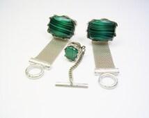 VINTAGE DANTE CUFFLINKS Tie Tack Set * inlaid Malachite Stone * Mesh Wrap Cuff Links Suit Accessory Formal Wear Men Wedding Jewelry