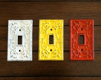 Light Switch Cover / Cast Iron Switchplate / Fleur de lis / Pick Color / Single Light Switch Plate /