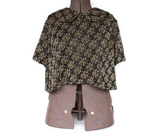Vintage Cropped Top - Black Gold Lurex Top - Vintage Blouse - Cropped Blouse - 1950s Blouse - Peter Pan Collar - Gold Metallic Blouse