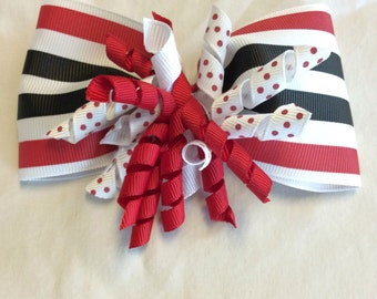 Red and black corker hair bow