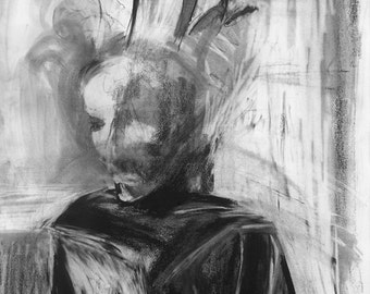 abstract figure drawing - black and white print - digital download art - 'Masquerade'