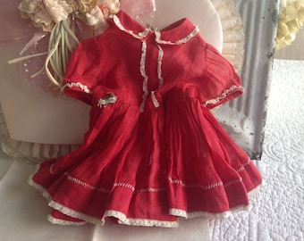 Adorable antique Valentine red gauzy material and lace doll dress