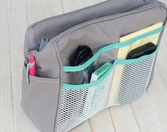 Cooler Purse Organizer, Gray with Aqua