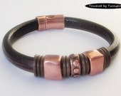 Mens Distressed Dark Brown Leather Bracelet, Copper Bracelet, Husband Gift, Boyfriend Gift, Fathers Day Gift