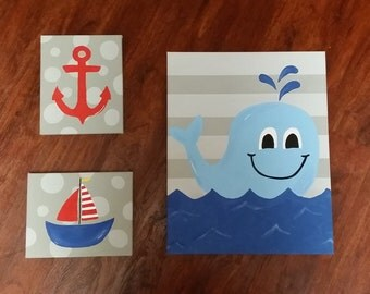 Set of 3 nautical/whale canvases