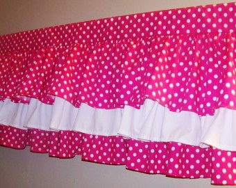 PINK POLKA DOT Tiers Valance ,3 Tiers, 42 x 16 inches Pink and white Polka Dot Valance, Polka dot, Girly curtain, Great gift Idea