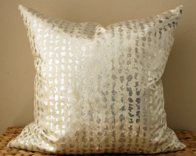cream and silver pillow - cream velvet pillow with silver metallic foil detail