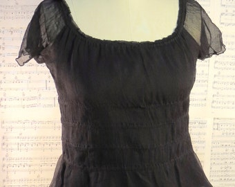 Sheer black top silk blouse dark bohemian Stevie Nicks inspired Gothic top