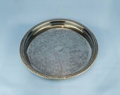 Neoclassical Elegant Silver Plated Metal TRAY Floral Vintage Meat Medium Old Dinner 1970s English LS