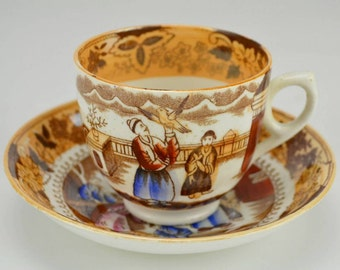 2 Person Figures Coffee Pottery Saucer Cup Orange Antique TEA SET Victorian 1850s Shabby Chic English LS