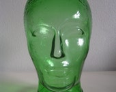 RESERVED for FATIMAH - Vintage green transparent glass Mannequin  Head for Display, Hat, Wig Headphones Stand - Home Decor - Space Age