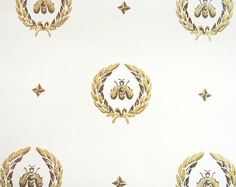 "Napoleonic Bee Pattern Wallpaper. Royal Bee, French Bee, Queen Bee Pattern – Matte Wall Paper 24"" x 36"" (by the yard.)"