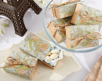 24 Map Favor Boxes Around the World Map Party Favors Wedding Favor Boxes
