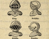 Digital Image Knight Helmets Download Medieval Armor Printable Graphic Antique Clip Art Jpg Png Eps 18x18 HQ 300dpi No.675