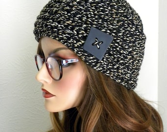 Women's winter Hat, Black Tweed Beanie, Beanie with Buttons ,Black and White hat, Winter Cloche Hat, Sophisticated Hat, Gift for Women