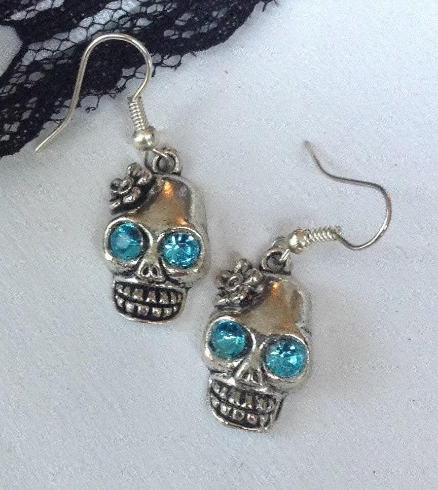 Skull earrings day of the dead jewelry spanish skeleton for Day of the dead body jewelry