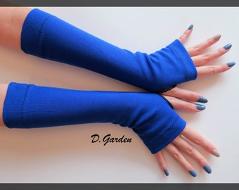 Blue Cotton Strechy Knitted Soft Fingerless Arm Warmers Great For Party and Prom - BLK004