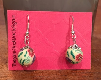 Colorful Flowers Clay Bead Earrings