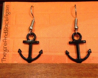 Silver Black Anchor Earrings