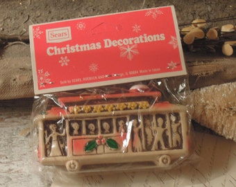 Vintage Plastic Trolley Shaped Christmas Ornament / Christmas Decorations / Christmas Sears