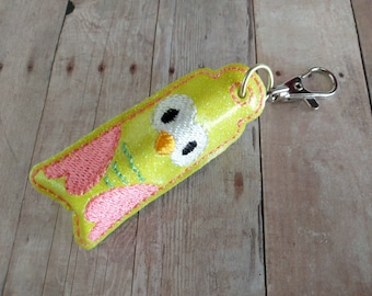 Yellow Owl Lip Balm or USB Holder, Embroidered Yellow Glitter Canvas with Pink Wings, Made in USA, Thumb Drive Case, Lobster Clasp Clip