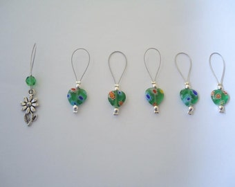 Rings markers for knitting with green flowers beads