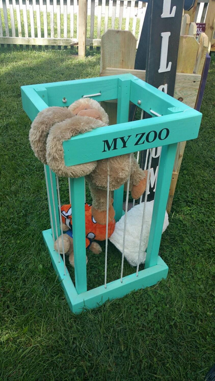My Zoo Stuffed Animal Toy Storage Organization Wooden Holder