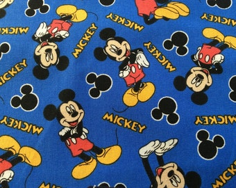 """Mickey Mouse on Blue curtain valance 41"""" x 15"""" in 100% cotton - Handmade new."""