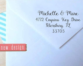 CUSTOM pre inked address STAMP from USA, self inking stamp, pre inked custom address stamp, rsvp stamper with proof - calligraphy c6-24