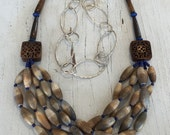 Himalayan Groove. Grooved bone beads suspended from hand carved wood tiles with bone bugle bead necklace handmade, OOAK by ladeDAH!