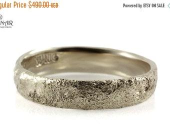 14k white Gold, hammered wedding band, tree bark texture Wedding ring, solid Gold ,men's single band ,Antique design, women's wedding ring