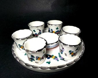 Egg Cups and Plate, Set of 6, Gmundner Keramik Egg Cup Set, Plate, Condiment Bowl, Gmundner Keramik Austria, Pottery