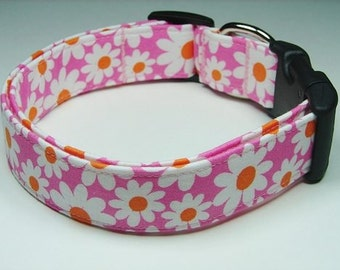 Charming Pink with White & Lime Green Daisies Dog Collar