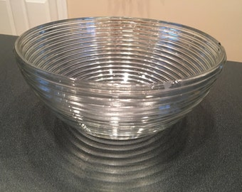 """Large glass ribbed bowl 10.25"""" w"""