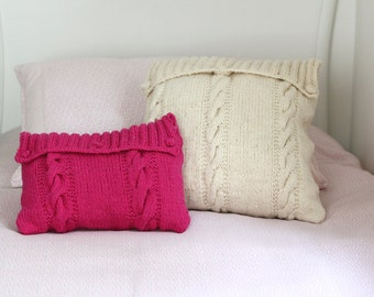 Hand knitted cushion cover - white & pink
