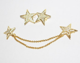 Joan Rivers Crystal Star Pins and Earring Set - S1418