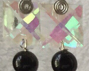 Black drop with mystical glass earrings